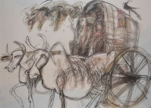 Untitled by Dhiraj Choudhury, Illustration Drawing, Mixed Media on Paper, Brown color