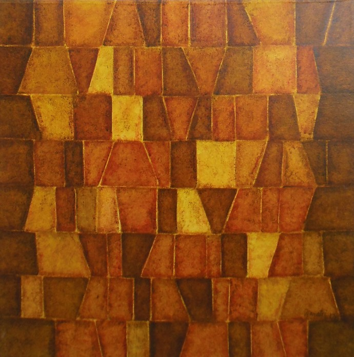 Innerscapes 28 by Gayatri Deshpande, Geometrical Painting, Acrylic on Canvas, Brown color