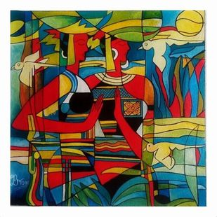 THE VILLAGE COUPLE 2 by PARESH MORE, Geometrical Painting, Acrylic on Canvas, Brown color