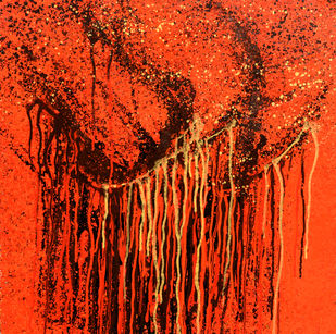 'Shree' by Aparna Bidasaria, Abstract Painting, Acrylic on Canvas, Red color