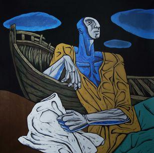 Untitled by Nitin Kushwaha, Expressionism Painting, Acrylic on Canvas, Blue color