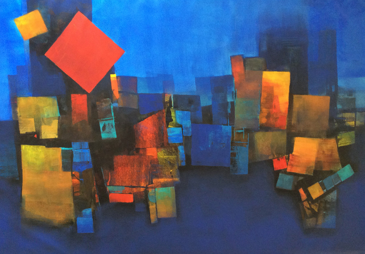 City Scape by sharath kumar , Abstract Painting, Acrylic on Canvas, Blue color