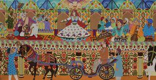 The Royal Saga (Mujra) by Sailesh Sanghvi, Traditional Painting, Mixed Media on Canvas, Brown color