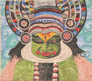 The Kathakali Expressions- 1 by Sailesh Sanghvi, Impressionism Painting, Mixed Media on Canvas, Brown color