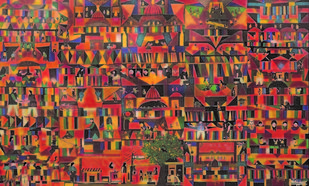Personal Spaces Within the city by Sailesh Sanghvi, Impressionism Painting, Mixed Media, Brown color
