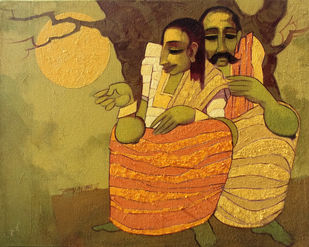 couple by Sarang Waghmare, Expressionism Painting, Acrylic on Canvas, Brown color