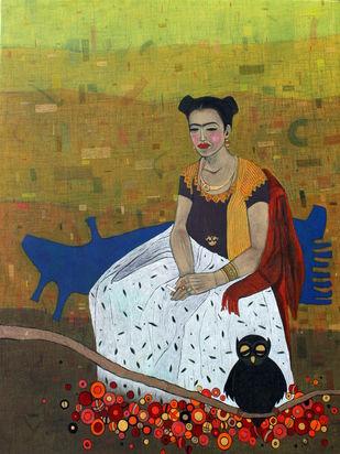 mere liye saadi leke aana by Himanshu Lodwal, Expressionism Painting, Mixed Media on Canvas, Brown color