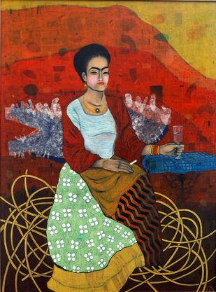 pal pal teri yaad mujhe tadpayegi by Himanshu Lodwal, Expressionism Painting, Mixed Media on Canvas, Brown color