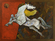 charging ahead in my dreams by Dinkar Jadhav, Expressionism Painting, Acrylic on Canvas, Brown color