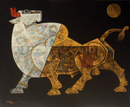 celebration20- by Dinkar Jadhav, Expressionism Painting, Acrylic on Canvas, Brown color