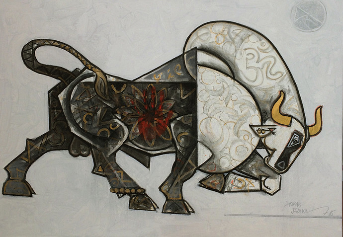 celebration-24-42x30 by Dinkar Jadhav, Expressionism Painting, Acrylic on Canvas, Gray color