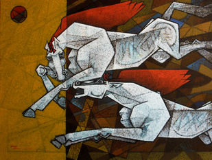 waltzing our way to happiness-16-48x36- by Dinkar Jadhav, Expressionism Painting, Acrylic on Canvas, Brown color