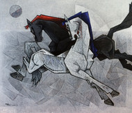 unity is the biggest leap forward-2-42x36- by Dinkar Jadhav, Expressionism Painting, Acrylic on Canvas, Gray color