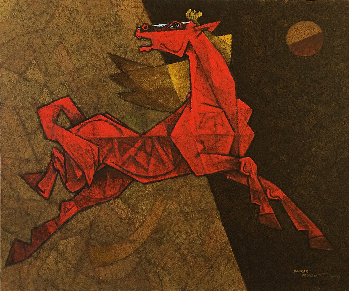 dancing under the moonlight-36x30 by Dinkar Jadhav, Expressionism Painting, Acrylic on Canvas, Brown color