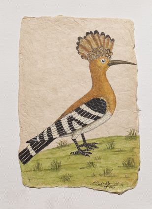 Drumming Woodpecker by Sabia Khan, Illustration Drawing, Pen & Ink on Paper, Beige color