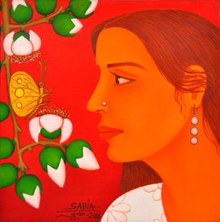 Tryst with Nature by Sabia Khan, Expressionism Painting, Oil on Canvas, Red color