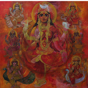 Sapta Matrikha by Rajeshwar Nyalapalli, Traditional Painting, Acrylic on Canvas, Brown color