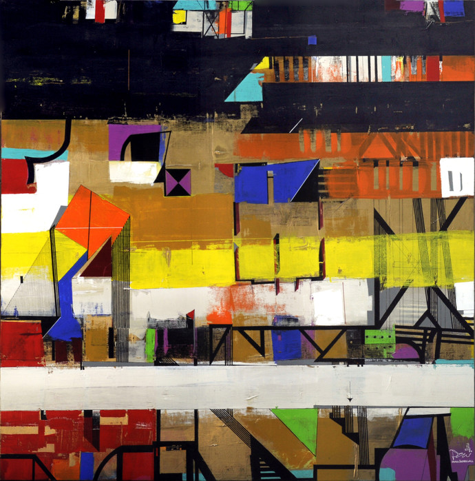 URBAN SCAPE 02 by Prabhinder Singh Lall, Geometrical Painting, Acrylic & Ink on Paper, Brown color
