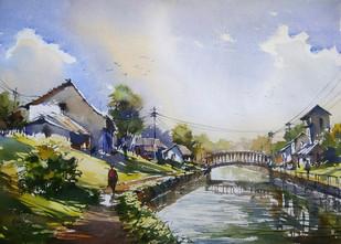 Land scape 1 by Sunil Linus De, Impressionism Painting, Watercolor on Paper, Gray color