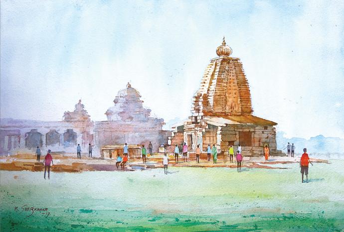 Galaganatha temple, pattadakal by Kiran sherkhane , Impressionism Painting, Watercolor on Paper, Cyan color