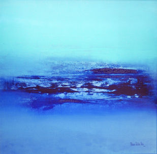 Sea waves by Poonam Rana, Abstract Painting, Acrylic on Canvas, Cyan color