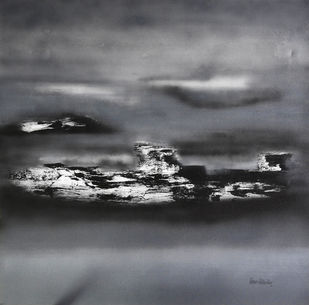 Grey Horizon by Poonam Rana, Abstract Painting, Acrylic on Canvas, Gray color