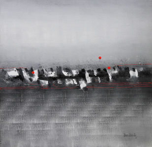 Moonlit by Poonam Rana, Abstract Painting, Acrylic on Canvas, Gray color