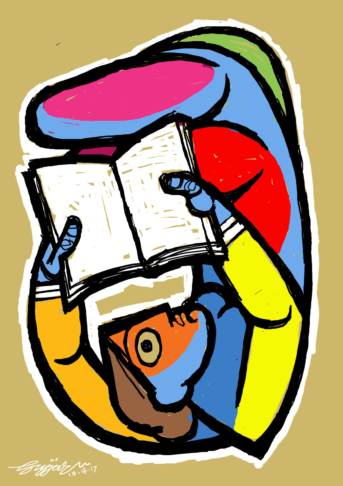 reading by Gujjarappa B G, Digital Digital Art, Digital Print on Canvas, Beige color