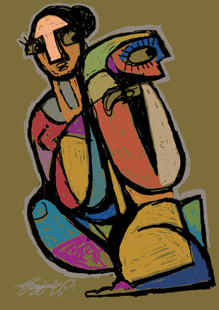 couple by Gujjarappa B G, Pop Art Digital Art, Digital Print on Canvas, Brown color