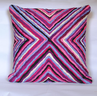Katran Cushion : Kite Line Pattern : Fuschia Cushion Cover By Sahil & Sarthak