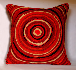 Katran Cushion : Round Line Pattern : Red Cushion Cover By Sahil & Sarthak