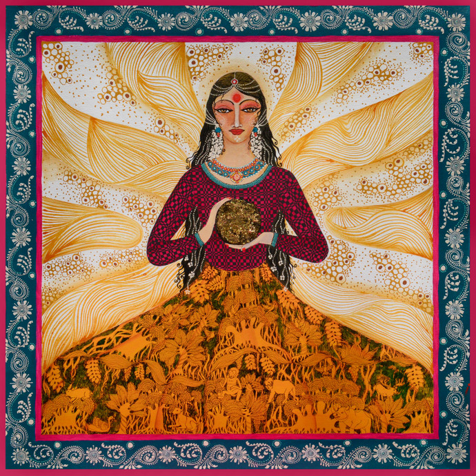 Fortune Teller by Pragati Sharma Mohanty, Expressionism Painting, Mixed Media on Canvas, Brown color