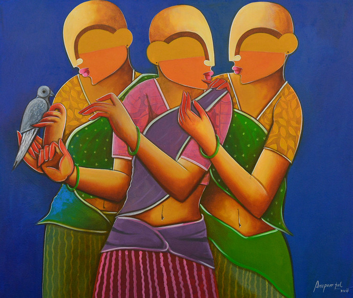 a sweet conversation by anupam pal, Decorative Painting, Acrylic on Canvas, Brown color