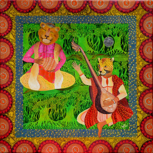 Indian Raaga 'Tilak Kamod' by Pragati Sharma Mohanty, Fantasy Painting, Mixed Media on Canvas, Brown color