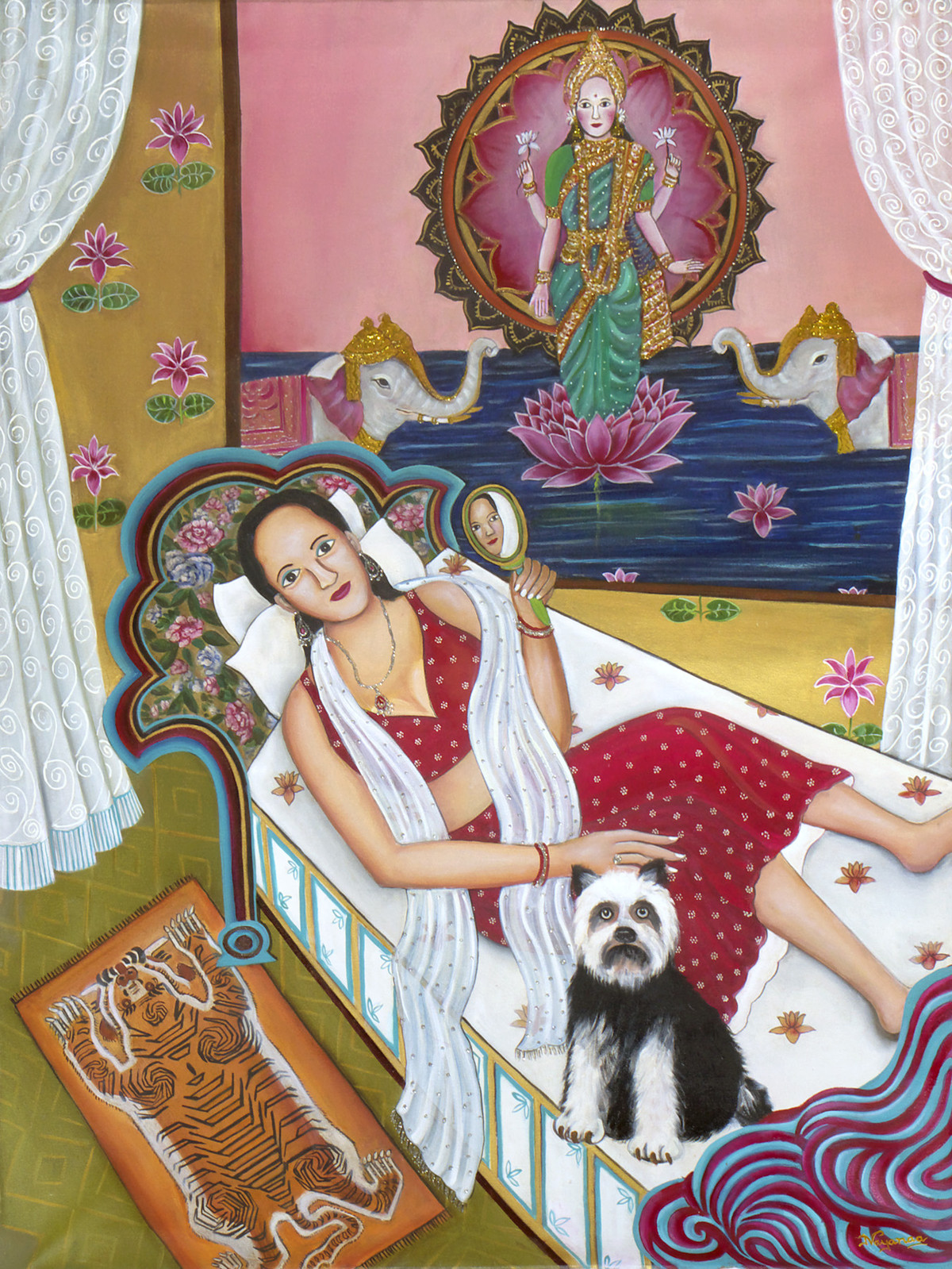Goddess of Wealth by Nayanaa Kanodia, Expressionism Painting, Oil on Canvas, Red color