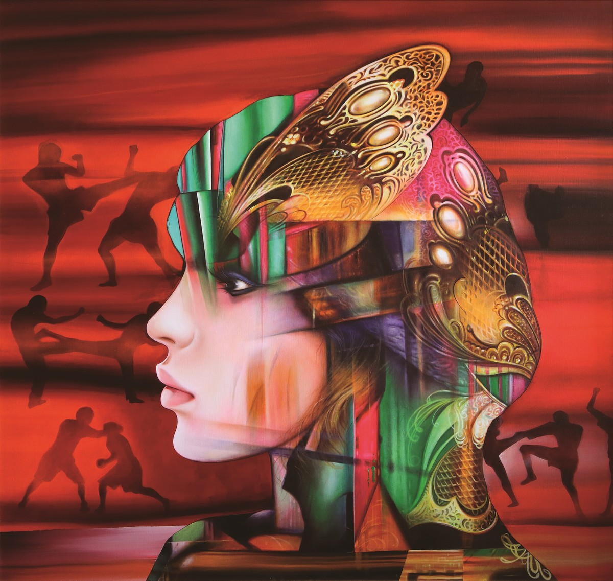 crimson warrior by Dharmendra Rathore, Expressionism Painting, Oil on Canvas, Green color