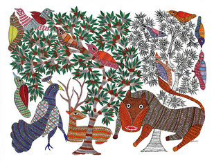 Gond Painting by Unknown Artist, Tribal Painting, Acrylic on Canvas, Beige color