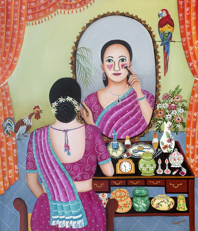 My Dropdead Gorgeous Look by Nayanaa Kanodia, Expressionism Painting, Oil on Canvas, Red color