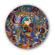 """Peacock Admiration Decorative Plate 10"""" Wall Decor By Kolorobia"""