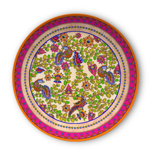 "Kalamkari Finesse Decorative Plate 10"" Wall Decor By Kolorobia"