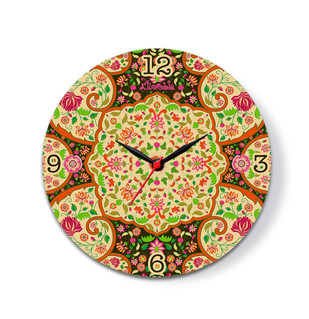 "Mughal Blooms Glass Clock 10"" Clock By Kolorobia"
