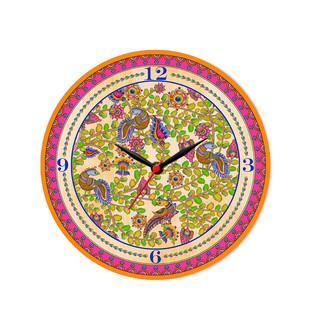 "Kalamkari Finesse Glass Clock 16"" Clock By Kolorobia"