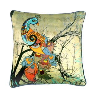 Charismatic Peacock Cushion Cover by Kolorobia, Contemporary Cushion Cover, fabric, Beige color