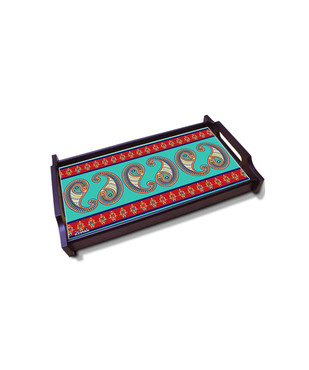 Majestic Paisley Small Wooden Tray Serveware By Kolorobia