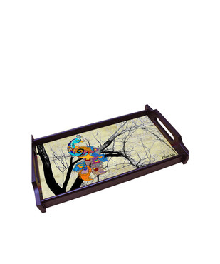 Charismatic Peacock Large Wooden Tray Tray By Kolorobia