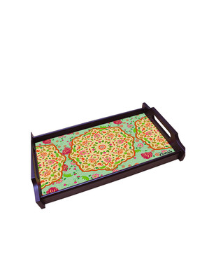 Ornate Mughal Small Wooden Tray Tray By Kolorobia