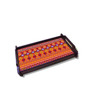Dazzling Ikat Small Wooden Tray Tray By Kolorobia