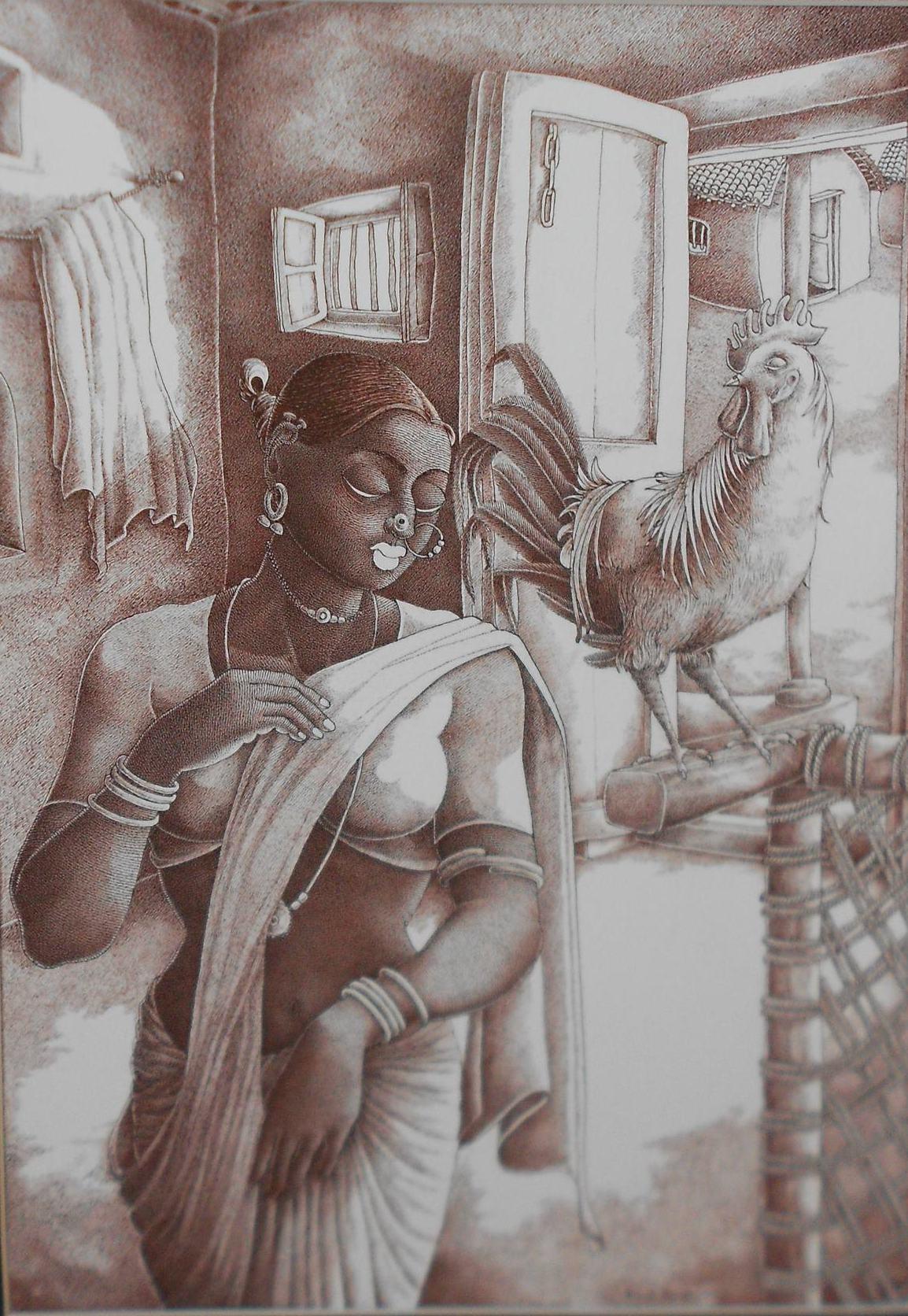 UNTITLED by Bairu Raghuram, Expressionism Drawing, Ink on Paper, Brown color
