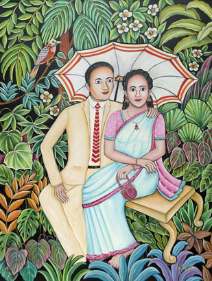 Under our Parasol by Nayanaa Kanodia, Expressionism Painting, Oil on Canvas, Red color