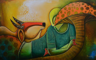 relex by anupam pal, Decorative Painting, Acrylic on Canvas, Brown color